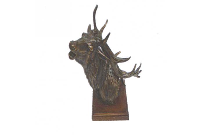 941082  Cabeza De Ciervo Bronce Chapado 24x30cm